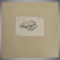 Original Pen and Ink Drawing of a Frog by Lester Bridaham Signed Dated 1930