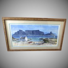 Painting Seascape Table Mountain Cape Town Acrylic South African Artist David Allen
