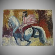 Vintage Oil on Artist Board Horse Acrobatics Signed Pablo