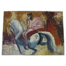 Vintage Oil on Artist Board Horse Acrobatics Signed Pablo