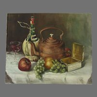 Oil on Canvas by J. Schauermann Signed Still Life
