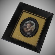 19th Century Painted Porcelain Plaque Pin Brooch Framed