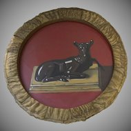 "Painting by Robert Seaver Florence ""Nature of the Beast"" 1997 Horn Round Frame Deer"