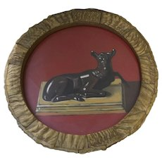 """Painting by Robert Seaver Florence """"Nature of the Beast"""" 1997 Horn Round Frame Deer"""