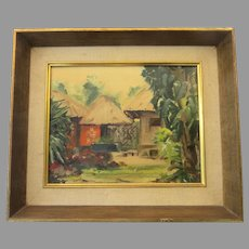 Small Painting of Huts on Artist Board