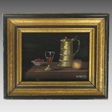 Miniature Oil Painting Still Life by Argentinian Artist Henry Ramirez