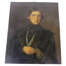 19th Century Oil on Canvas Handsome Gentleman