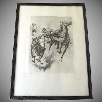 Vintage Signed R. H. Palenske American Western Cowboys Rodeo Rider 'BULL DOGGIN