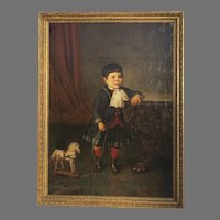 Large 19th Century Oil on Canvas Young Boy Toy Horse by Augusto Manuel de Quesada