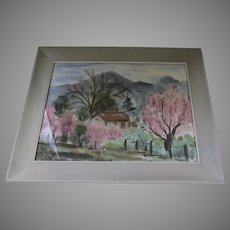 Large Watercolor Painting by Del Lucia Lindman, California Signed