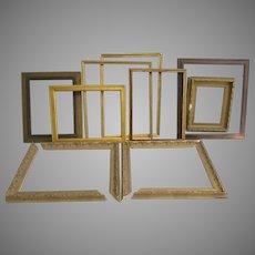 Vintage Picture Frames Wood Gilt Lot of 9