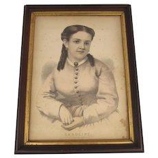 """Vintage Framed Currier & Ives Print """"Caroline"""""""