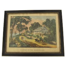 "Vintage Print ""a Home on the Mississippi"" Currier & Ives Framed"