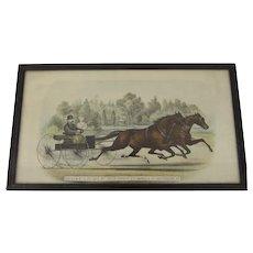 Vintage Horse Racing Print Driven at 2:20 Gait by Their Owner, C.C. Warren of Waterbury VT.