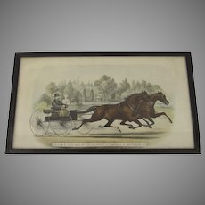 Vintage Horse Racing Print Driven at 2:20 Gait by Their Owner, C.C. Warren of Waterbury VT.