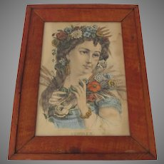 Vintage Print and Frame by Currier & Ives Summer
