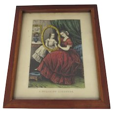 Vintage Currier & Ives Framed Print A Speaking Likeness