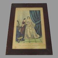 Vintage Currier & Ives Print Old Frame
