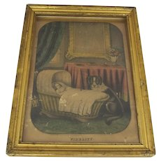 """Vintage Thayer Print and Water Gilt Frame """"Fidelity"""" Dog and Child"""