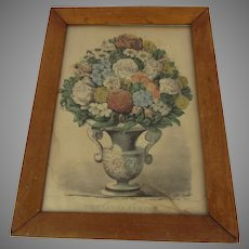 "Charming Old Vintage Print by Currier & . Ives ""The Lady's Boquet"""