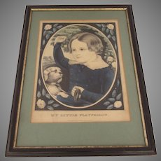 "Vintage Older Currier Print Little Boy and Dog ""My Little Playfellow"""
