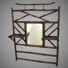 19th Century Bamboo Hanging Mirror Shelf