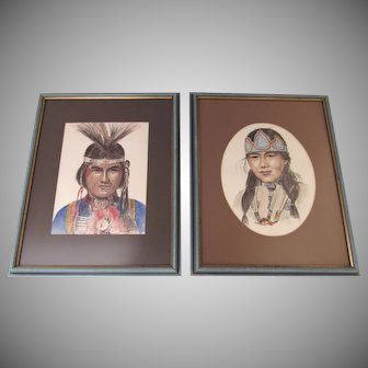 Pair of Vintage Watercolors Native American Portraits Signed