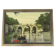 Vintage Framed Needlepoint Bridge and People on Boats
