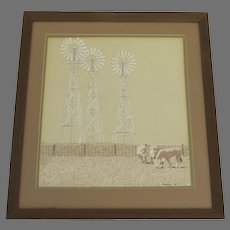 """Vintage Painting on Artist Board Cows Pasture and Windmills Signed """"RAMSEY '76"""""""