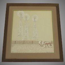 "Vintage Painting on Artist Board Cows Pasture and Windmills Signed ""RAMSEY '76"""