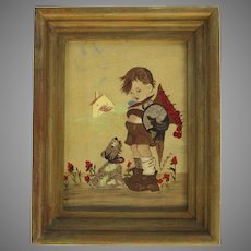 Vintage 1950's Painting of a Little Boy and Dog Signed M. McDonald Child's Room