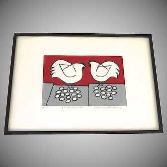 "Print by Seattle Graphic Artist Linnea Lundmark Titled ""Hens """