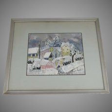"Signed Gouche by Rifka Angel ""Winter Scene in Upper Darby, PA"