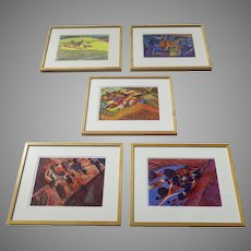 Group of Five (5) Harold Gregor Giclee Illinois Flatscape Framed