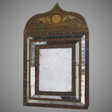 Vintage South American Cushion mirrored Painted Mirror