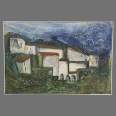 """Oil on Canvas Signed Wm Evilsizer Dated 1966  """"Villa"""""""