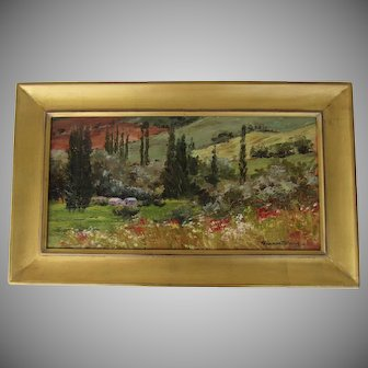 Painting Oil on Artist Board by Kit Hevron Mahoney Countryside of Umbria (20th century)