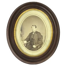 Oval Walnut Wooden and Gild Picture Frame with Photograph