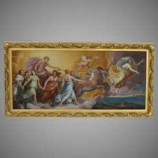 Vintage Painting Apollo Driving  the Chariot of the Sun Fabulous Gilt Frame