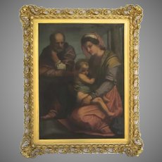 Vintage Large Wonderful Copy of Holy Family in Gilt Frame