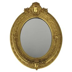 19th Century Gilt Mirror with Shields  Ca. 1880's