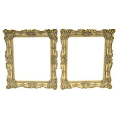 Pair of 19th Century American Frames partial Gilt Shell and Flower Motif