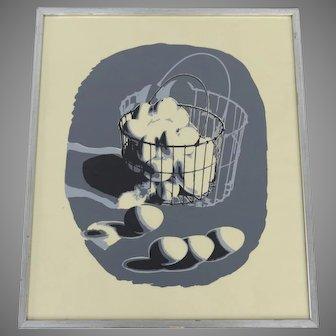 """Silk Screen by Irene Stein """"Wire Basket"""""""