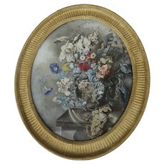 Margaret Meen Large Watercolor Gauche Signed Dated Gilt Oval Frame 18th Century