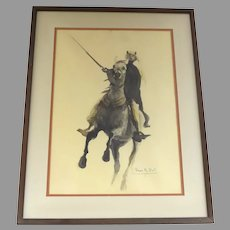Vintage Signed Watercolor by David Hall Arab Saudia Arabian on Horse Horseback
