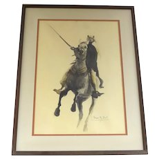Vintage Signed Watercolor by David Hall Arab Saudia Arabian on Horse Horseback