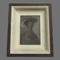 Small Portrait of a Woman in a Feather Hat by Shum Alfonso Vila  Juan Acher Baptist