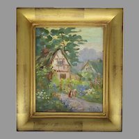 Vintage Painting Signed H. J. Bush French Country Scene