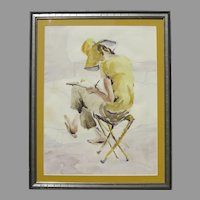 Small Framed Watercolor by Sybil Moschetti from Boulder Colorado