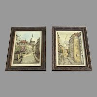 Engravings of Rue St Rustique and Rue Norvins in Montmartre